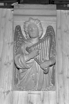 Interior view of The Elms, Arbroath, showing detail of carved angel in dining room.