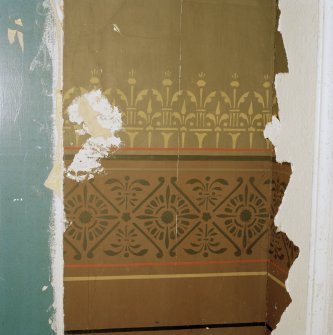 Interior. Detail of original wall stencilling in drawing room. Digital image of E 2292 CN.