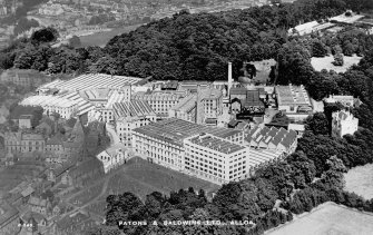 Alloa, Kilncraigs Mill, aerial view of mill, also showing Alloa Tower. Digital image of postcard titled: 'PATONS & BALDWIINS LTD., ALLOA.'