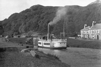 "Cairnbaan, Crinan Canal. Historic photograph of general view, titled: '""Linnet"" S.S. on the Crinan Canal. 5362 G.W.W.'"