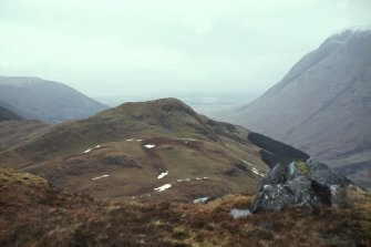 Copy of colour slide showing view of Dun Deardail, Glen Nevis, Highland.  View of fort from S. ( slopes of Sgor Chalum)  1127ft above sea level NMRS Survey of Private Collection  Digital Image Only