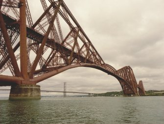 View of the Forth Bridge from the South East from the rescue boat with the Forth Road Bridge in the background.