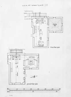 Publication drawing; ground- and first-floor plans. Photographic copy.
