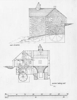 Publication drawing; section and elevation. Photographic copy.
