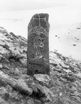 Pabbay. General view of symbol stone. Seemingly in situ with details of carving highlighted.