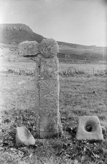 Canna, St Columba's Graveyard. West face of carved stone.