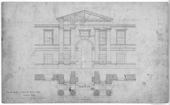 Photographic copy of plan and elevation of stable court. Digital image of LAD 18/93 P.