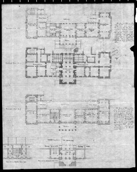 Photographic copy of floor plans showing designs for Great Stair. Digital image of LAD 18/35 P.