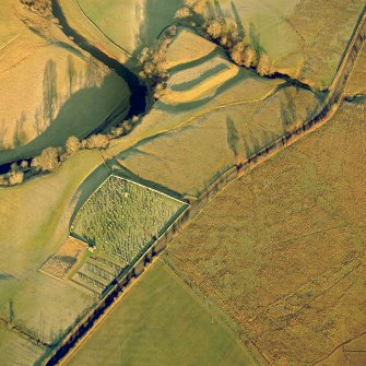 Oblique aerial view of Castleton centred on a burial-ground and remains of an earthwork fortification, taken from the SW. Digital image of D/24606/CN.