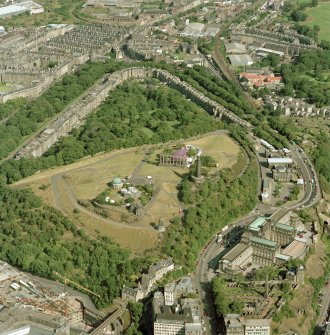 Oblique aerial view of Calton Hill, taken from the W, showing Old City Observatory.