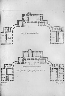 Taymouth Castle. Plan of the principal story and ground floor. Titled: 'Plan of the Principal Story' 'Plan of the Ground floor of Taymouth house' 'p 50'.