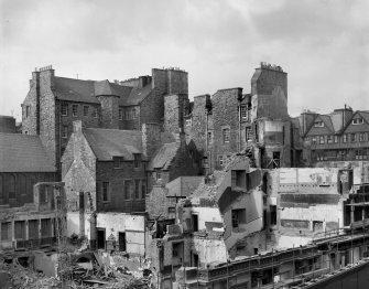 General view of rear of Nos 298-320 (South side of Lawnmarket) during demolition of Melbourne Place for erection of Council offices.