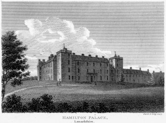 Photographic copy of general engraved view. Insc: 'Hamilton Palace. Lanarkshire. London. Published by Vernon Hood And Sharpe, Poutry, Novr. 1. 1807. Storer and Greig sculpt'. Digital image of LAD 18/7/p
