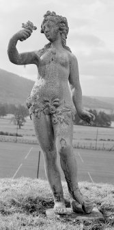 Blair Castle, walled garden. View of statue of Flora by John Cheere 1740. Digital image of PT 4414.