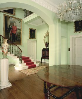 View of entrance hall in Keithick House, Perthshire, with staircase in background. Digital image of C/60330/cn