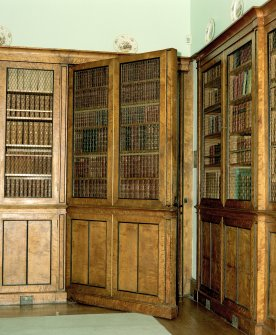 View of concealed door in library of Keithick House, Perthshire.
