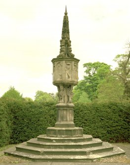 View of north sundial, Newbattle Abbey House, from south west.