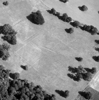 Aerial photograph showing outline of a formal garden at Floors Castle.