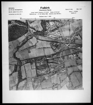 Scanned image of Luftwaffe vertical air photograph of the Nobel chemical works at Wester Newlands, Polmont.