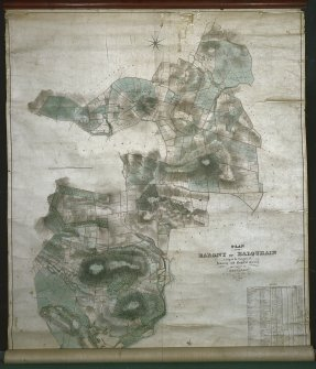 Digital image of 'Plan of the Barony of Balquhain lying in the Parishes of Inverury and Chapel of Garioch and County of Aberdeen. Surveyed 1838 by Walker and Beattie, Aberdeen'.