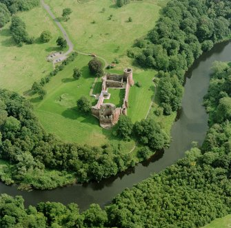 Bothwell Castle, oblique aerial view, taken from the W. Digital image of D 32209 CN