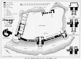 "North Berwick, Tantallon Castle. Photographic copy of plan of castle, showing various stages of construction. Pen and Ink. Scale 1"":19' Digital image of ELD/99/1"