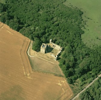Spynie Palace, oblique aerial view, taken from the SE, centred on the Bishop's Palace.