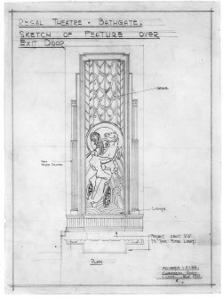 Detail showing decorative feature over exit door of auditorium. Scanned image of E 26301.