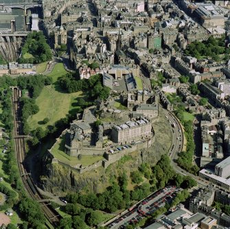 Digital image of Edinburgh Castle, Tolbooth St. John's Church, and The National Gallery, oblique aerial view.