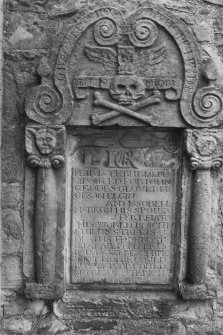 Elgin Cathedral Graveyard. Mural monument, John Geddes and Isobel McKean, 1687. Digital image of C 23408/32