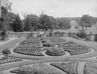 General view of garden with sundial.
