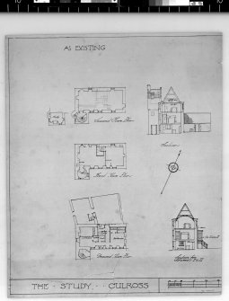 Plans and sections as existing. Scanned image of D 4965.
