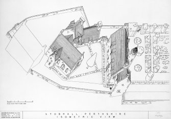 Photographic copy of drawing of perspective view.