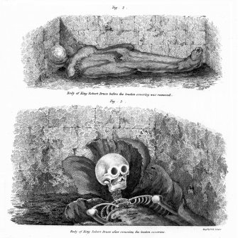 Engravings of the coffin and skeleton of Robert I, from 'Extracts from the Report made by Henry Jardine, Esquire, His Majesty's Remembrancer in Exchequer, relative to the Tomb of King Robert the Bruce, and the Church of Dunfermline', Archaeologia Scotica, vol. ii (1822), plate xiv.
