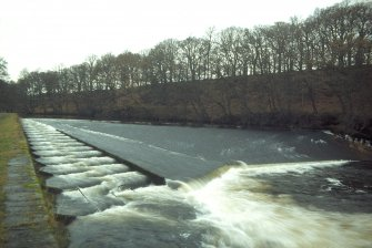 View of 'New' Weir, Deanston, with salmon ladder on the left, from SE. Copy of 35 mm colour transparency.