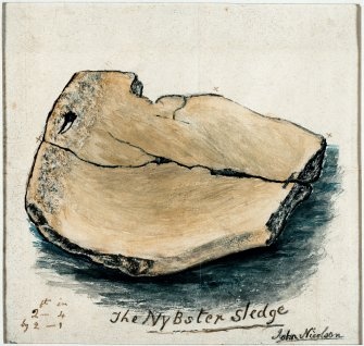 Digital copy of watercolour drawing of artefact, annotated with measurements, entitled: 'The Nybster Sledge. John Nicolson'.