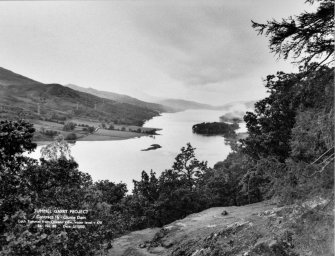 View of Tummel/Garry Project, contract 16, Clunie Dam, Loch Tummel from Queen's View. Scan of negative no. 88, Box 872/2