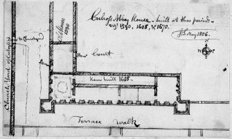 "Page 57: Ink sketch plan of Culross Abbey House Insc. ""Culross Abbey House, built at three periods. J.S. May 1806"" 'MEMORABILIA, JOn. SIME  EDINr.  1840'"