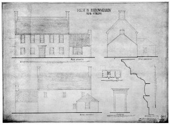 Plan of farmhouse.  N, S and E elevations of farmhouse.  Elevation of farmhouse doorway.  Doorway mouldings.