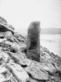 Pabbay Photograph of Pictish symbol stone. Copy of original historic photograph mounted on card. Annotated by Erskine Beveridge 'Pabbay, Barra'.