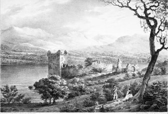 Urquhart Castle. Scanned image of engraving showing general view.