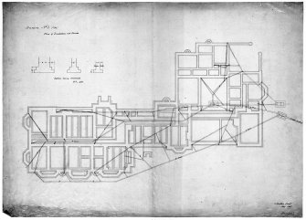 Scanned image of drawing showing plan of foundations and drains. Original insc: '6 Stratton Street, London, May 1851'.