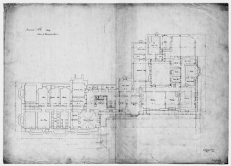 Scanned image of drawing showing plan of basement floor. Original insc: '6 Stratton Street, London, May 1851'.