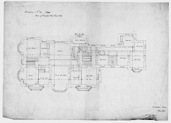 Scanned image of drawing showing plan of principal bedroom floor. Original insc: '6 Stratton Street, London, May 1851'.