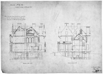 Scanned image of drawing showing sections. Original insc: '6 Stratton Street, London, May 1851'.