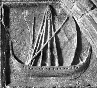 Detail from the tomb of Alexander Macleod c.1528, showing a highland galley or birlinn.