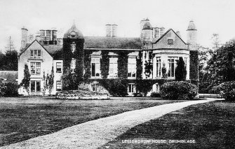 Postcard view of Lessendrum country house, Aberdeenshire, from NW.
