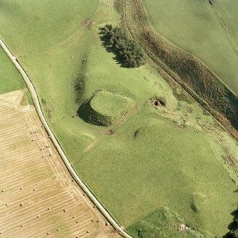 Oblique aerial view of Peel of Fichlie centred on the remains of a motte-and-bailey castle, taken from the WNW.