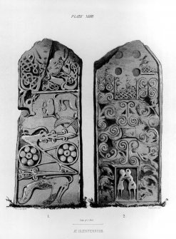 Face and reverse of cross-slab.  From J Stuart, The Sculptured Stones of Scotland, vol. i, pl. xxiv.