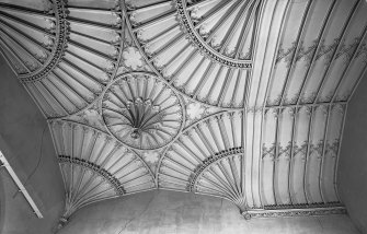 Skye, Armadale Castle, interior. Detail of the fan-vaulted ceiling of hall and staircase.